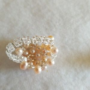 unknown Jewelry - PEARLS Cluster COCKTAIL Ring
